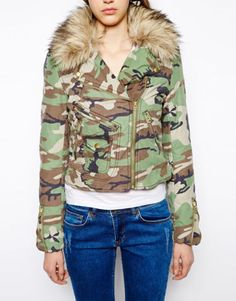Denim-amp-Supply-Ralph-Lauren-Women-Military-Army-Camo-Moto-Biker-Fur-Coat-Jacket