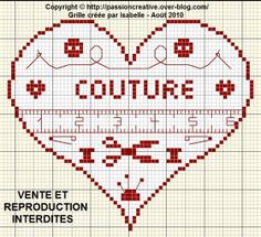 Grille gratuite point de croix : Coeur couture