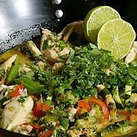 Kylling og grønnsaker med kokosmelk og rød curry -