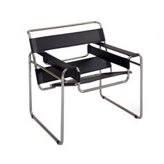 Designed in 1925 by Marcel Breuer,  the Wassily was revolutionary for the manufacturing methods and innovative use of bent steel tubes and canvas. First chair made of steel tubing. Chair named after a teacher at the Bauhaus design school, father of abstract art, Wassily Kandinsky.