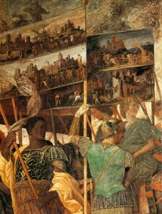 Andrea Mantegna. Triumphs of Caesar (scene 1, detail) 1485-95 Tempera on canvas, 267 x 278 cm Royal Collection, Hampton Court Mantegna was one of the most important humanist painters of his day, and his interests in archeology and literature gave him the grounding for an art directed at the educated upper class. One of his finest illustrations of this ability is a work for the young Francesco Gonzaga: the Triumphs of Caesar.