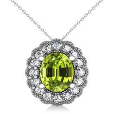 Allurez Peridot & Diamond Floral Oval Pendant Necklace 14k White Gold... (£2,660) ❤ liked on Polyvore featuring jewelry, necklaces, white gold necklace, 14 karat gold necklace, peridot jewelry, peridot pendant necklace and diamond pendant necklace