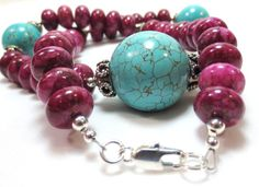 Turquoise  & Jasper Necklace Bali Style by CindyBurkeOriginals, $32.00