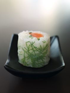 Wonderful sushi roll with rice paper instead of nori.