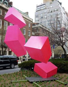 Park Ave. and 67th. Raphael Barrio's vibrant flourescent geometric sculpture