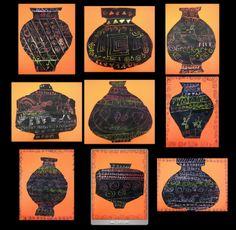 Scratch art symmetrical greek vases