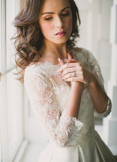 pretty lace sleeve wedding dress | onefabday.com