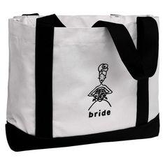 Bride Canvas Wedding Gift Tote Bag - White/Black : Target