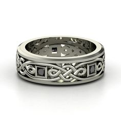 Men's Sterling Silver Ring with Black Diamond | Alhambra Knot Band | Gemvara