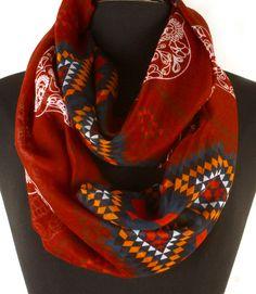Burgundy Aztec & Sugar Skull Pattern Infinity Scarf  #CowlInfinity