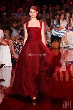 Elie Saab Hot New 2017 Wine Red Evening Dresses Ruched Bodice