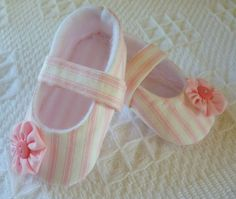 Pink Stripe Soft Baby Shoes by cottagecloset on Etsy, $23.00