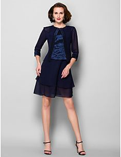 A-line Jewel Knee-length Georgette And Taffeta Mother of the Bride Dress With A Wrap (967229). Get superb discounts up to 70% Off at Light in the box using Mother's Day Promo Codes.