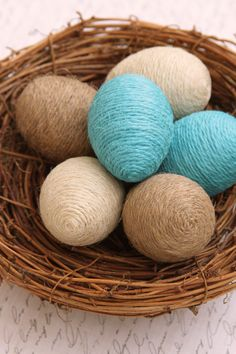 Jute twine eggs half dozen complete with nest natural ivory turquoise twine easter eggs spring decoration bowl or basket filler 35 diy beautiful easter decorations ideas for 2019 Easter Bingo, Easter Puzzles, Easter Activities For Kids, Easter Food, Easter Dinner, Spring Decoration, Diy Easter Decorations, Diy Osterschmuck, Easy Diy