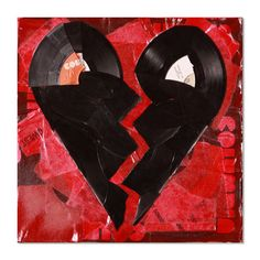 Broken Hearted by Greg Frederick $135 - This original Vinyl Pop Art from Brooklyn-based artist Greg Frederick is for the rock-and-roller who's ever been heart broken. Two heart halves have been formed from recycled records and layered on top a collage of fire-red record sleeves. It's a scorcher not a scratcher!