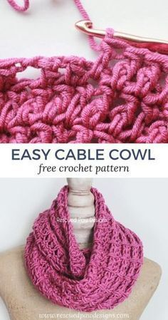 Crochet Cable Stitch Cowl - Vera Lauschik - Crochet Cable Stitch Cowl Easy Cable Cowl from Rescued Paw Designs Crochet - Make this simple cowl today with this free crochet pattern! Crochet Cable Stitch, Crochet Scarf Easy, Crochet Cowl Free Pattern, Crochet Video, Bag Crochet, Quick Crochet, Crochet Beanie, Crochet Scarves, Crochet Shawl