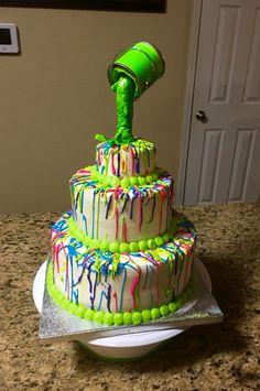 Neon, glow in the dark paint splatter cake