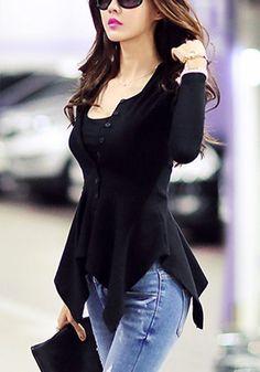 Black Asymmetrical Knit Top