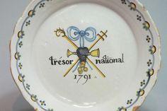 Rare assiette révolutionnaire  Trésor National 1791 - Nevers - XVIIIe Siècle
