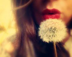 scarlettella photography, scarlett's wish, romantic, feminine, soft, red lips, dreamy decor, fine art photography, dandelion, wish, female portrait, self portrait, female figure