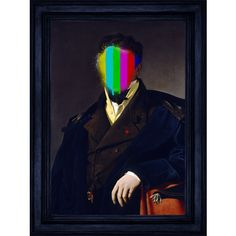 """""""Sir Splat"""" - Fine art canvas print featuring a *probably* handsome man who's been defaced with a splash of TV """"colour bars"""". Complimented with effect frame in a royal blue.  That's right, the beautiful frame you see is not what it seems - we actually print the elaborate frame onto the same canvas as the artwork creating a convincing optical illusion.  Printed on hand stretched poly-cotton canvas using UV resistant inks and wood from sustainable sources.  Available in four sizes."""