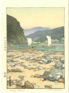 Toshi Yoshida Japanese Woodblock Print Tenryu River 1942 | eBay