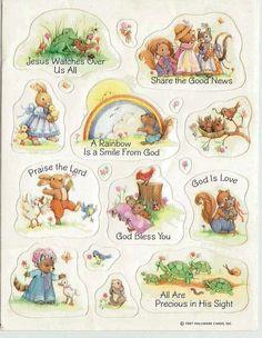 Stickers Vintage 1 sheet  HALLMARK RELIGIOUS ANIMALS 1987  A1-6 #HALLMARK #Stickers
