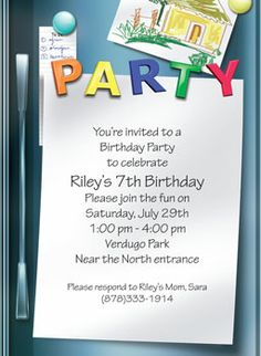 """Party Time Party Invitation. 4 7/8"""" x 6 3/4"""""""