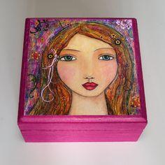 Girls Wooden Jewelry Boxes | Bohemian Girl Purple Jewelry Box Wooden Portrait Jewellery Box