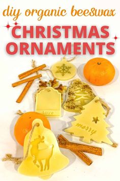 How to make beautiful beeswax ornaments tutorial. Beeswax ornament DIY with useful tips on how to choose the best mold, twine, ribbons. Beautiful organic Christmas ornaments you can make in less than an hour. Unique Christmas Decorations, Christmas Ornaments To Make, Christmas Diy, Essential Oil Scents, Orange Essential Oil, Natural Furniture, Ornament Tutorial, Beeswax Candles, Do It Yourself Home
