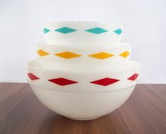 Vintage Fire-King Colonial Kitchen Diamond Band Bowl Set at Eight Mile Vintage on Etsy