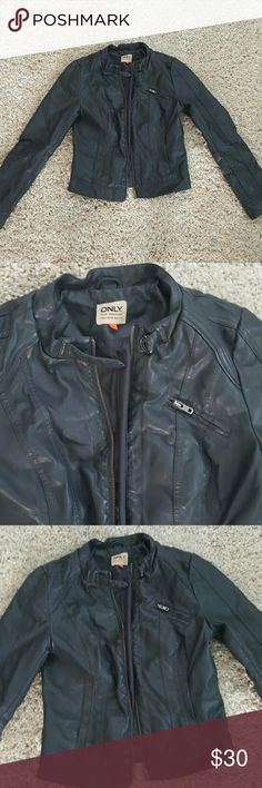 Leather jacket Great condition. Worn only once. Super cute neck detail you can see in pic 2. Jackets & Coats
