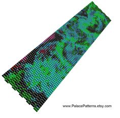 Van Gogh Inspired 3 Drop Peyote Stitch Bracelet Pattern – Green by PalacePatterns on Etsy
