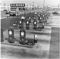 Gilmore Oil's Gas-a-teria in L.A. You could save 5 cents a gallon by pumping it yourself. Opened in the 1940s.