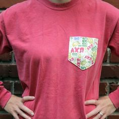 Alpha Chi Omega Long Sleeve Tee Shirt in Crimson with Pattern Pocket by the Frat Collection