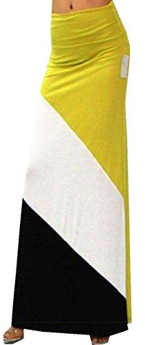 Abetteric Womens Summer Color Blocked Beachside Full Maxi Skirt Yellow Free Size -- You can find more details by visiting the image link.