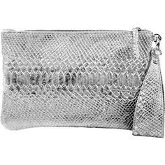 Metallic Clutch ($95) ❤ liked on Polyvore featuring bags, handbags, clutches, metallic purse, metallic handbags, silver clutches, metallic clutches and silver metallic purse