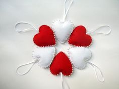 Red and white felt hearts christmas valentines day by Lilamina
