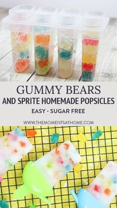 These easy homemade popsicles for kids use soda and gummy candy for a fizzy, refreshing, super fun treat! A great project for a summer day to share with friends! You can even make these sugar free. Home Made Popsicles Healthy, Homemade Fruit Popsicles, Sugar Free Popsicles, Healthy Popsicle Recipes, Ice Pop Recipes, Smoothie Popsicles, Popsicles Diy, Easy Summer Desserts, Summer Treats