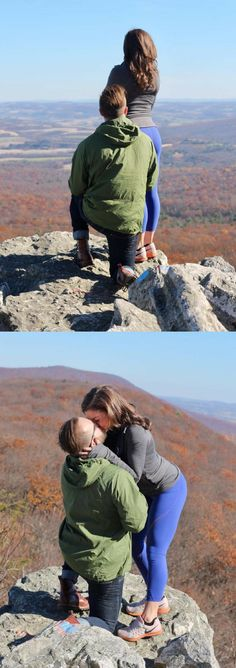 She was taking in the view after their hike while he was getting on his knee to propose! When she turned around, it was the cutest surprise.