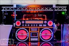 High quality Giant Boombox Prop With Lights - Black available to hire. View Giant Boombox Prop With Lights - Black details, dimensions and images. 80s Party Decorations, Party Props, Party Themes, Music Themed Parties, Music Party, Disco 80, Dj Dj Dj, Dj Stand, Fm Band