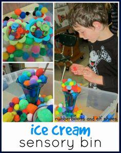 "Create an ice cream shop in the ""house centre"".  Add the sensory bin with pompoms and accessories."