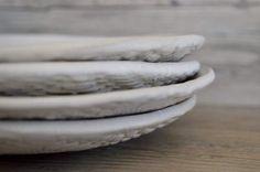 Ceramic dessert plates, salad plates Handmade set of 4  Wedding gift Organic Handmade Tableware by Christiane Barbato salad plates