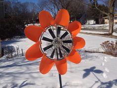 Orange black-eyed susan Windflower kinetic garden sculpture made by WindworkerStudio.com.