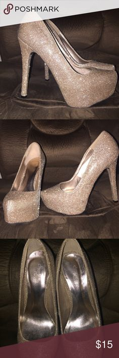 High heels Size 7 Charlotte Russe sparkly high heels. 5 inch heel. Worn once Charlotte Russe Shoes Heels