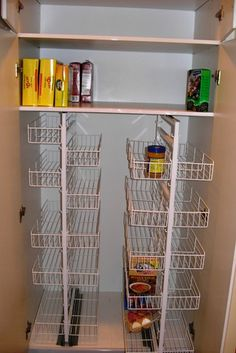 This might work in my narrow pantry cabinet if it slides out it would help with the lighting problem. Kitchen Cupboard Doors, Kitchen Pantry Design, Kitchen Organization Pantry, Clutter Organization, Home Office Organization, Kitchen Ideas, Pull Out Pantry, Organizing Services, Reserve