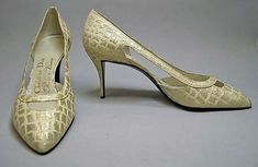 F/W 1962-1963, France - Shoes by Roger Vivier for Dior - Silk, metallic thread #rogerviviervintage