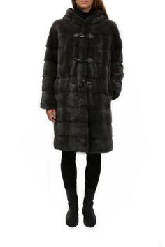 Grey Mink Hooded Duffle Coat