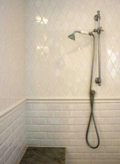 guest bathroom concept - Diamond Tile on top and subway tile on the bottom Upstairs Bathrooms, Laundry In Bathroom, Small Bathroom, Bathroom Ideas, Master Bathrooms, Bathroom Remodeling, Bathroom Faucets, Bathroom Wall, Mini Bad