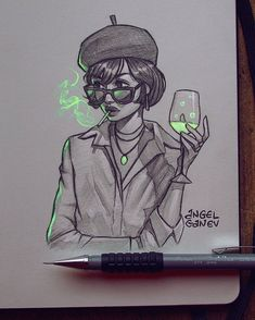 Color Poison~😬💚 Pencil sketch+lighting ✨ Reference from 🌿 . Btw I've never even smoked cigarettes in life, always kinda seen… Girl Drawing Sketches, Girly Drawings, Cool Art Drawings, Pencil Art Drawings, Pencil Sketching, Drawing Faces, Realistic Drawings, Art And Illustration, Art Illustrations